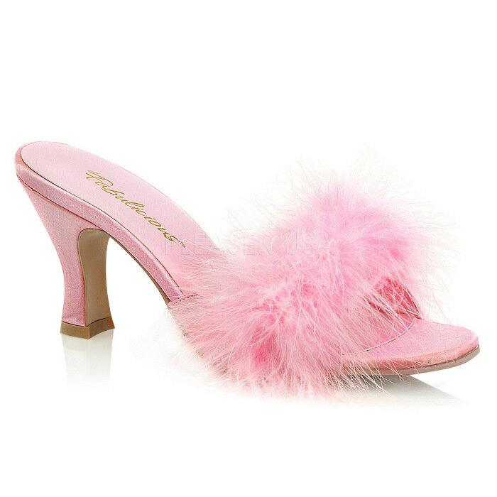 取寄せ靴 ふさふさファー付き ミュール サンダル 7.5cm スプールヒール ベビーピンク つや消し 大きいサイズあり イベント 仮装 女装 男装 パーティ- LGBTファッション