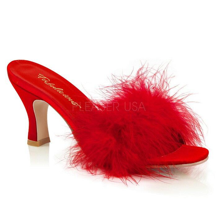 取寄せ靴 ふさふさファー付き ミュール サンダル 7.5cm スプールヒール 赤 レッド つや消し 大きいサイズあり イベント 仮装 女装 男装 パーティ- LGBTファッション