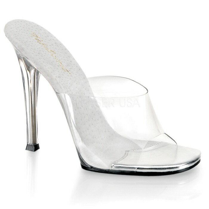 取寄せ靴 履きやすい薄厚底ミュールサンダル 11.5cmヒール クリア Pleaserプリーザー 大きいサイズあり イベント 仮装 女装 男装 パーティ- LGBTファッション
