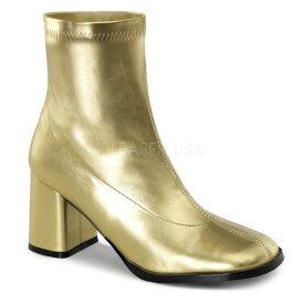 取寄せ靴 FUNTASMA ファンタズマ ショートブーツ レディース メンズ ラウンドドトゥ 8cm チャンキーヒール 金色 ゴールド つや消し ストレッチ アンクルブーツ 大きいサイズあり イベント 仮装 女装 男装 パーティー 春 夏 秋 冬 コスプレ