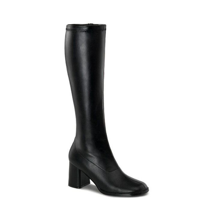 即納靴 送料無料 コスプレ ロングブーツ サイドジッパー 8cm チャンキーヒール 黒 ブラック つや消し FUNTAZMA ファンタズマ 大きいサイズあり ダンス 仮装 女装 男装 パーティ- ハロウィン コスプレ