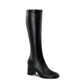 即納靴 FUNTASMA ファンタズマ ロングブーツ レディース メンズ ラウンドドトゥ 8cm チャンキーヒール 黒 ブラック つや消し サイドジッパー ブロックヒール ダンス 仮装 女装 大きいサイズあり 21.5 22 22.5 23 23.5 24 24.5 25 25.5 26 26.5 27 27.5 28 cm センチ