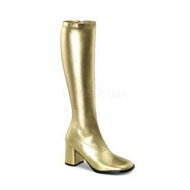 取寄せ靴 送料無料 コスプレ ロングブーツ サイドジッパー 8cm チャンキーヒール 金 ゴールド つや消し FUNTAZMA ファンタズマ 大きいサイズあり ダンス 仮装 女装 男装 パーティ- ハロウィン コスプレ