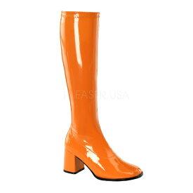 取寄せ靴 送料無料 コスプレ ロングブーツ サイドジッパー 8cm チャンキーヒール オレンジ エナメル FUNTAZMA ファンタズマ 大きいサイズあり ダンス 仮装 女装 男装 パーティ- ハロウィン コスプレ