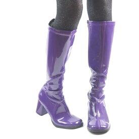 取寄せ靴 送料無料 コスプレ ロングブーツ サイドジッパー 8cm チャンキーヒール 紫 パープル エナメル FUNTAZMA ファンタズマ 大きいサイズあり ダンス 仮装 女装 男装 パーティ- ハロウィン コスプレ
