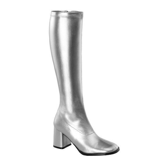 即納靴 送料無料 コスプレ ロングブーツ サイドジッパー 8cm チャンキーヒール 銀 シルバー つや消し FUNTAZMA ファンタズマ 大きいサイズあり ダンス 仮装 女装 男装 パーティ- LGBTファッション