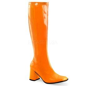 取寄せ靴 送料無料 コスプレ ロングブーツ サイドジッパー 8cm チャンキーヒール ネオン オレンジ エナメル FUNTAZMA ファンタズマ 大きいサイズあり ダンス 仮装 女装 男装 パーティ- ハロウィン コスプレ
