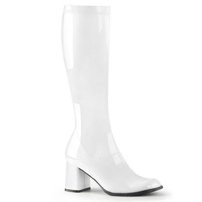 即納靴 送料無料 コスプレ ロングブーツ サイドジッパー 8cm チャンキーヒール 白 ホワイト エナメル FUNTAZMA ファンタズマ 大きいサイズあり ダンス 仮装 女装 男装 パーティ- ハロウィン コスプレ