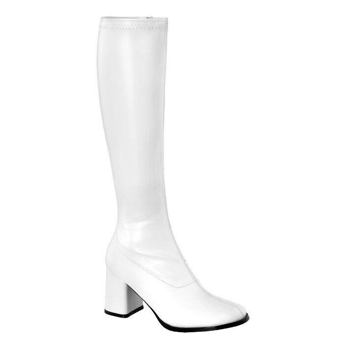 即納靴 送料無料 コスプレ ロングブーツ サイドジッパー 8cm チャンキーヒール 白 ホワイト つや消し FUNTAZMA ファンタズマ 大きいサイズあり ダンス 仮装 女装 男装 パーティ- LGBTファッション