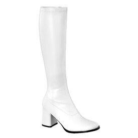 即納靴 FUNTASMA ファンタズマ ロングブーツ レディース メンズ ラウンドドトゥ 8cm チャンキーヒール 白 ホワイト つや消し サイドジッパー ブロックヒール ダンス 仮装 女装 大きいサイズあり 21.5 22 22.5 23 23.5 24 24.5 25 25.5 26 26.5 27 27.5 28 cm センチ