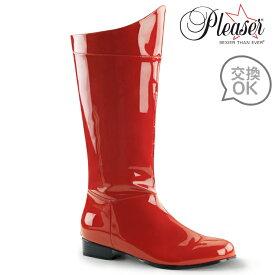即納靴 FUNTAZMA ファンタズマ ロングブーツ メンズ ラウンドトゥ  2.5cm ブロックヒール 赤 レッド エナメル ワイドな筒周り プラスサイズ ローヒール バックジッパー 変身ヒーロー衣装 大きいサイズあり セクシー サンタ 女装 パーティー クリスマス コスプレ