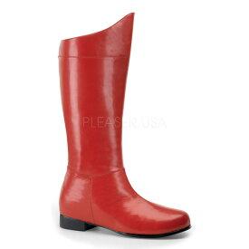 即納靴 FUNTAZMA ファンタズマ ロングブーツ メンズ ラウンドトゥ  2.5cm ブロックヒール 赤 レッド つや消し ワイドな筒周り プラスサイズ ローヒール バックジッパー 変身ヒーロー衣装 大きいサイズあり セクシー サンタ 女装 パーティー クリスマス コスプレ