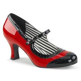 取寄 靴 送料無料 甲ベルト バイカラー パンプス 7.5cmキトゥンヒール 赤 レッド 黒 ブラック エナメル 大きいサイズあり イベント セクシー サンタ 女装 パーティ- クリスマス コスプレ