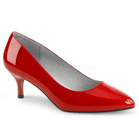 取寄 靴 PLEASER プリーザー ローヒール パンプス レディース メンズ ポインテッドトゥ 6.5cm キトゥンヒール 赤 レッド エナメル 結婚式コーデ 大きいサイズあり イベント セクシー サンタ 女装 パーティー クリスマス コスプレ