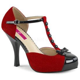 取寄せ靴 送料無料 Tストラップ 厚底 パンプス 11.5cmヒール 赤 レッド スエード 黒 ブラック エナメル 大きいサイズあり イベント セクシー サンタ 女装 パーティ- クリスマス コスプレ