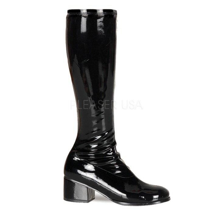 取寄せ靴 送料無料 コスプレ ロングブーツ ローヒール サイドジッパー付 5cmチャンキーヒール 黒 ブラック エナメル FUNTAZMA ファンタズマ 大きいサイズあり イベント 仮装 女装 男装 パーティ- LGBTファッション