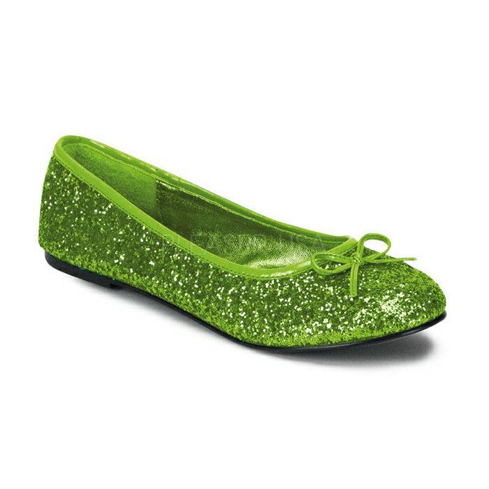 取寄せ靴 送料無料 きらきらラメ かわいいリボン付き フラットぺたんこパンプス ライム緑グリーングリッター FUNTASMAファンタズマ 大きいサイズあり イベント 仮装 女装 男装 パーティ- ハロウィン コスプレ