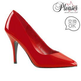 取寄 靴 PLEASER プリーザー パンプス レディース メンズ 10cm ピンヒール 赤 レッド エナメル ポインテッドトゥ ハイヒール キャバ 嬢 ボンテージ 送料無料 大きいサイズあり イベント セクシー サンタ 女装 パーティー クリスマス コスプレ ドレス 衣装