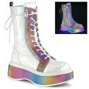 取寄せ靴 DEMONIA デモニア ショートブーツ 白 ホワイト マルチカラー 大きいサイズあり 22.5 23 23.5 24 24.5 25 25.…