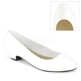 取寄 靴 PLEASER PINK LABEL プリーザーピンクレーベル パンプス 3cm ヒール 白 ホワイト つや消し合皮 大きいサイズあり 24.5 25 25.5 26 26.5 27 27.5 28 28.5 29 29.5 30 30.5 31 31.5 32 cm センチ