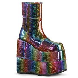 取寄せ靴 DEMONIA デモニア ショートブーツ メンズ レインボー ホログラム 大きいサイズあり 22.5 23 23.5 24 24.5 25 25.5 26 26.5 27 27.5 28 28.5 29 29.5 30 cm センチ