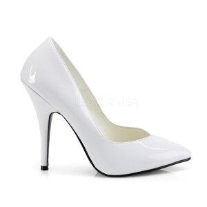即納靴PLEASERプリーザーパンプスレディースメンズ12.5cmピンヒール白ホワイトエナメルポインテッドトゥハイヒールドレス大きいサイズあり送料無料21.52222.52323.52424.52525.52626.52727.52828.52929.530以上cmセンチ