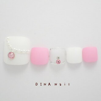 Seaslupedi chip ☆ necklace design art ♪ shear galasnail pink / white nail art chip and click on