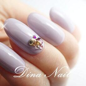 【ジェルネイルチップ】スモーキーラベンダーワンポイントビジュー【秋冬】ベリーショートからレギュラーオーバルまで長さが選べます シンプル 短いネイル パープル 紫 ダスティ