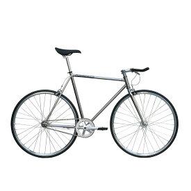 ピストバイク 完成車 カーテルバイク CARTEL BIKE AVENUE LO CHROME【自転車 バイク スポーツバイク 完成品 クロモリ 軽量 カスタム カスタムバイク ベース フリーギア 固定ギア 初心者 シンプル おしゃれ 銀 シルバー】