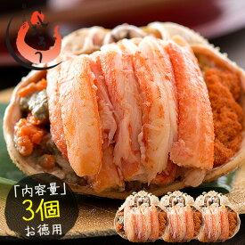 お中元 ギフト セイコガニ 甲羅盛り 小サイズ 約80g×3個(甲羅横幅 約7.5cm)越前松葉 せいこ蟹
