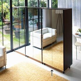 家具 収納 衣類収納 ワードローブ クローゼット 移動式間仕切りクローゼット ミラー扉タイプ・可動棚板4枚 LR0051