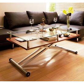 家具 収納 テーブル 机 昇降式テーブル 飛散防止フィルム貼りガラス 二重天板昇降式リフティングテーブル 幅120cm LR0211