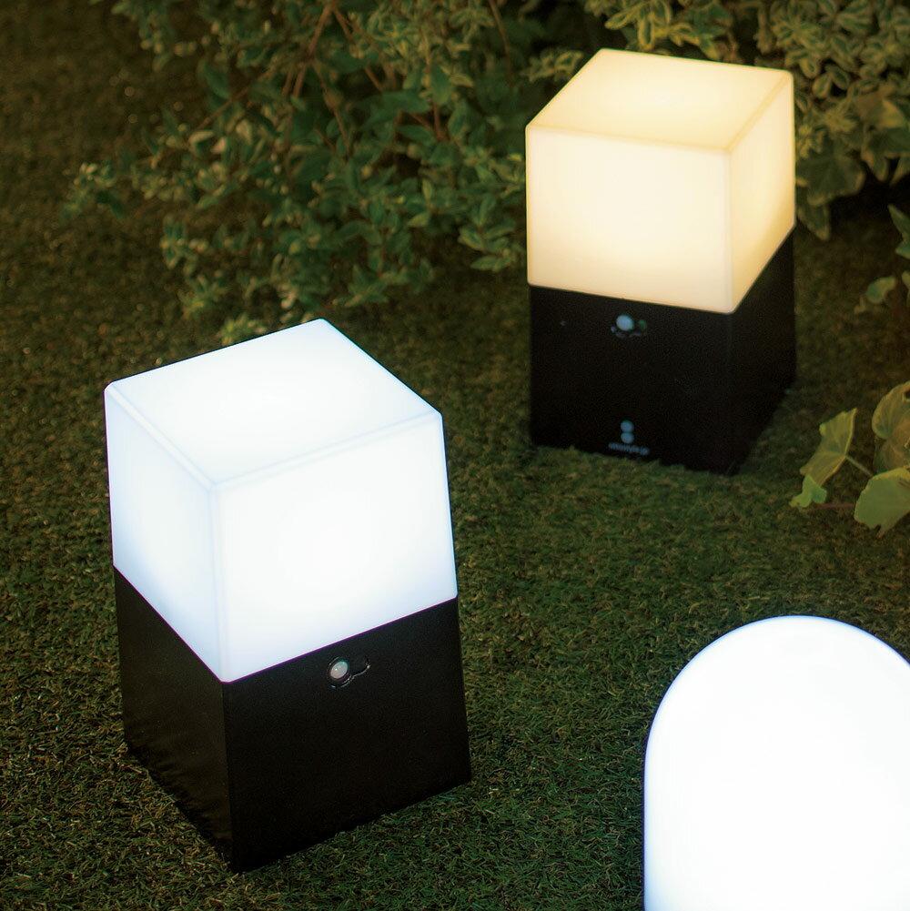 【よりどり対象(3点以上送料無料)】電池式LED人感センサーライト2個組・角 LR5287