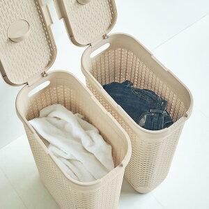 家具 収納 トイレ収納 洗面所収納 ランドリーボックス ランドリーバスケット 蓋付き 樹脂製 バスケット 40L タテ 同色2個組 H84603
