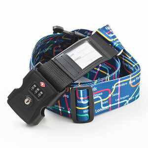 TSAロック&ネームカード付きスーツケースベルト メトロプリント≪アメリカ旅行の必需品≫ N51299