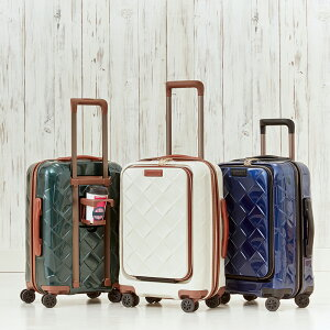 旅行用品 ホビー ペット スーツケース キャリーバッグ ハードタイプ Stratic(ストラティック)/ 「Leather&More(レザー&モア)」フロントオープンスーツケース ドリンクホルダー付き 機内持