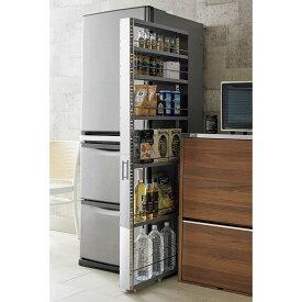 家具 収納 キッチン収納 食器棚 キッチンストッカー 食品ストッカー ステンレス製キッチンすき間収納ワゴン ハイタイプ(高さ159cm)幅15cm奥行60.5cm H04805
