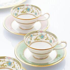 キッチン 家電 洋食器 コーヒーカップ カップ&ソーサー Noritake(ノリタケ)/ヨシノ ティー・コーヒー碗皿ペアセット(グリーン・ピンク) 洋食器 N52954