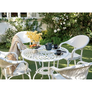 ガーデニング フラワー ガーデニング用品 エクステリア ガーデンファニチャーセット ホワイトクラシカル5点セット(テーブル×1、チェア2脚組×2) G92601