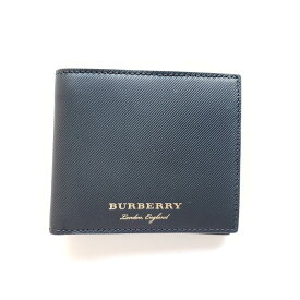 Burberry バーバリー メンズライニングレザー二つ折り メンズ財布 ブラック Men's Lined Leather Bi-Fold Men's Wallet Black