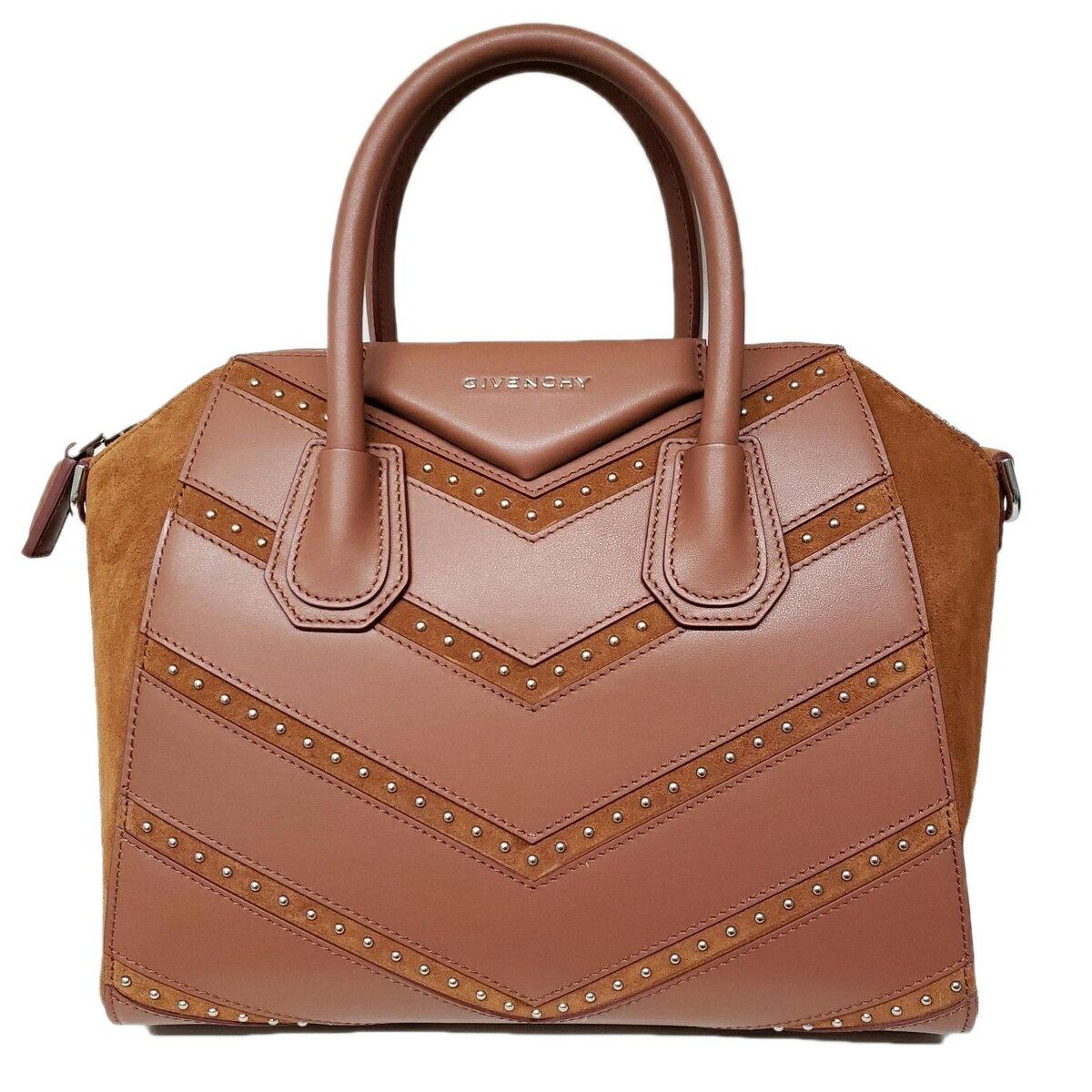 Givenchy ジバンシー Antigona アンティゴナ シェブロンスタッズ S レザーボストンバッグ ブラウン Chevron Studded Small Antigona Satchel Brown Leather Shoulder Bag