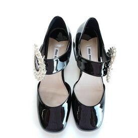 ba4e90888940 中古 Miu Miu ミュウミュウ クリスタル メリージェーン レザーパンプス ブラック Mary Jane Leather Pumps With  Crystals Black