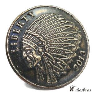 コンチョ インディアンフェイス【中】 アンティークゴールド リバティ コインコンチョ ネイティブ コイン インディアン  ナバホ 財布 ウォレット メンズ (ネジ式)【メール便な