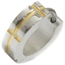 ステンレス フープピアス クロス 十字架 シルバー 金属アレルギー対応 メタル素材 ゴールド 金 シンプル 小さめ フープ ループ リング 輪っか ピアス メンズ アクセサリー レディース 中折れ式 13mm