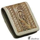 メンズ二つ折り財布 レザーウォレット 本革 サドルレザー 牛革 透かし彫りカービング パイソン 大容量 短財布 レザー…