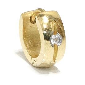 ステンレス フープピアス ジルコニア ダイヤ シルバー 金属アレルギー対応 メタル素材 ゴールド 金 シンプル 小さめ フープ ループ リング 輪っか ピアス アクセサリー メンズ レディース 中折れ式【メール便なら送料無料】9mm
