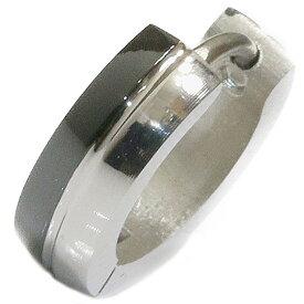 ステンレス フープピアス シルバー 金属アレルギー対応 メタル素材 シンプル 小さめ フープ ループ リング 輪っか ピアス ブラックライン メンズ アクセサリー レディース 中折れ式 13mm