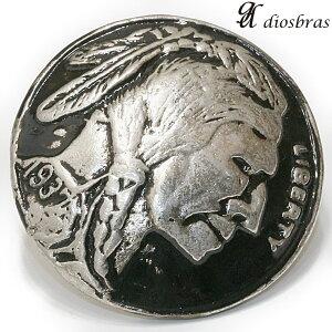 コンチョ インディアンフェイス コインコンチョ ネイティブ コイン インディアン  コンチョシルバー925コンチョ ナバホ 財布 ウォレット メンズ (ネジ式)【メール便なら送
