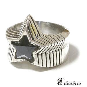 シルバー925 シルバーリング ブラックジルコニア メンズ 星 スター ワンスター 一つ星 パワーストーン オニキス 天然石 スターリングシルバー 指輪 ring silver925 銀 シルバーアクセサリ
