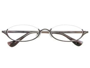 アンダーリム 逆ナイロール(メタルフレーム) メガネ 度付き/度なし/伊達メガネ オーバル グレー メガネセット EC002-GY【金子眼鏡】【薄型レンズ付】【ケース付】【送料無料】